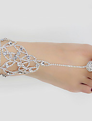 abordables -Femme Bracelet de cheville bijoux de pieds Imitation Diamant Bracelet de cheville Bijoux Blanc Pour Mariage