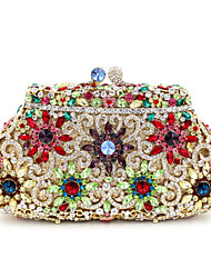 cheap -Women's Bags Metal Evening Bag Crystal / Rhinestone Floral Print for Wedding / Party / Event / Party Golden / Black / Purple / Silver / Rhinestone Crystal Evening Bags
