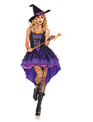cheap -Witch Dress / Cosplay Costume Adults' Party / Evening / Costume Party / Vacation Dress Women's Black / Purple / Light Purple Terylene Cosplay Accessories Halloween / Carnival Costumes / Hat / Female