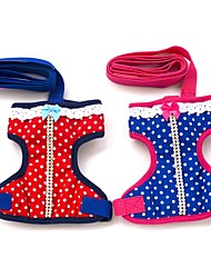 cheap -Cat Dog Harness Leash Soft Running Vest Casual Safety Polka Dot Fabric Red Blue