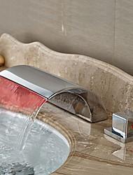 cheap -Modern Widespread Waterfall LED Ceramic Valve Two Handles Three Holes Chrome, Bathroom Sink Faucet