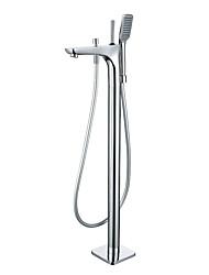 cheap -Bathtub Faucet - Contemporary Chrome Floor Mounted Ceramic Valve Bath Shower Mixer Taps / Single Handle One Hole