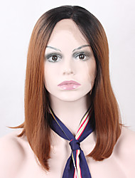 cheap -Synthetic Wig Straight Straight Bob Lace Front Wig Black / Dark Auburn Synthetic Hair Women's Natural Hairline Brown