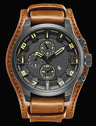cheap -Men's Sport Watch Fashion Watch Dress Watch Quartz Japanese Quartz Genuine Leather Black / Brown 30 m Water Resistant / Waterproof Calendar / date / day Cool Analog Charm Luxury Classic Vintage Casual