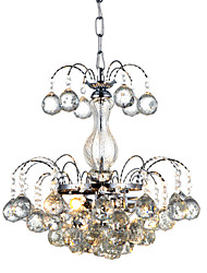 cheap -QINGMING® 3-Light 38 cm Crystal Chandelier Metal Chrome Traditional / Classic 110-120V / 220-240V