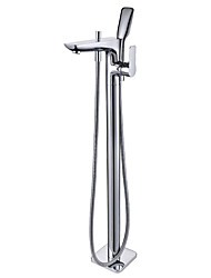 cheap -Bathtub Faucet - Contemporary Chrome Floor Mounted Ceramic Valve Bath Shower Mixer Taps / Single Handle One Hole