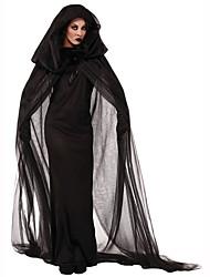Недорогие -ведьма Жен. Хэллоуин Фестиваль / праздник Полиэстер Черный Мужской Карнавальные костюмы Однотонный