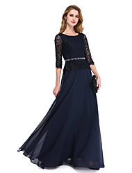 cheap -A-Line Jewel Neck Floor Length Chiffon / Lace Bodice 3/4 Length Sleeve Elegant Mother of the Bride Dress with Sash / Ribbon / Beading 2020 / Illusion Sleeve