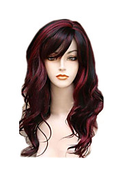 cheap -Synthetic Wig Wavy Wavy With Bangs Wig Long Red Synthetic Hair Women's Highlighted / Balayage Hair Side Part Red