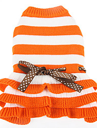 cheap -Dog Sweater Stripes Casual / Daily Keep Warm Winter Dog Clothes Purple Orange Costume Acrylic Fibers S