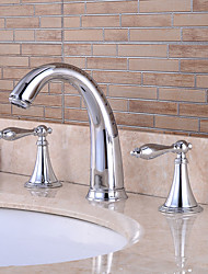 cheap -Bathtub Faucet - Pre Rinse / Waterfall / Widespread Chrome Tub And Shower Two Handles Three HolesBath Taps