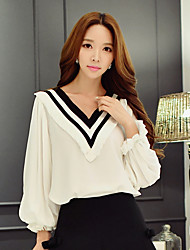 cheap -Women's Holiday / Going out Street chic / Sophisticated Puff Sleeve Shirt - Color Block Ruffle / Ruched / Pleated V Neck