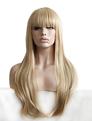 cheap -natural wigs for women long wave blonde with bangs cosplay wigs