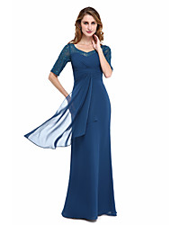 cheap -Sheath / Column V Neck Floor Length Chiffon / Lace Half Sleeve Elegant Mother of the Bride Dress with Criss Cross / Ruched / Beading 2020