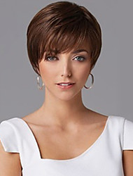 cheap -Synthetic Wig Wavy Wavy With Bangs Wig Short Brown Synthetic Hair Women's With Bangs Brown