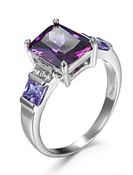 cheap -Women's Ring AAA Cubic Zirconia Amethyst Purple Champagne Zircon Cubic Zirconia Alloy European Fashion Party Casual Jewelry Simulated