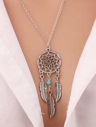 cheap -Women's Turquoise Pendant Necklace Y Necklace Leaf Wings Flower Feather Dream Catcher Ladies Tassel Bohemian Vintage Gold Plated Turquoise Alloy Silver Necklace Jewelry For Christmas Gifts Party
