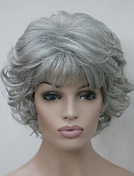cheap -Synthetic Wig Curly Curly With Bangs Wig Short Grey Synthetic Hair Women's Side Part With Bangs Gray