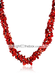 cheap -Women's Crystal Red Cora Beaded Necklace Flower Ladies Fashion Crystal Rainbow Red Necklace Jewelry For Party Casual