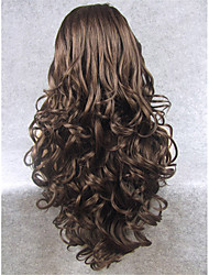 cheap -Synthetic Wig Wavy Wavy Lace Front Wig Long Brown Synthetic Hair Women's Natural Hairline Brown
