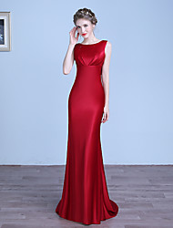 cheap -Sheath / Column Jewel Neck Floor Length Stretch Satin Formal Evening Dress 2020 with Pleats