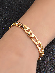 cheap -Men's Chain Bracelet Chain Necklace Figaro Fashion Hip Hop 18K Gold Plated Gold Plated Yellow Gold Golden Necklace Jewelry 1pc For Party Wedding Casual Daily