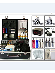 cheap -starter tattoo kits 2 cast iron machine liner & shader LCD power supply 10 x tattoo needle RL 3 10 x tattoo needle RL 5 10 x tattoo
