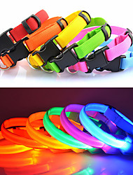cheap -Cat Dog Collar LED Lights Adjustable / Retractable Solid Colored Nylon Blue Pink Rainbow