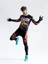 cheap -Malciklo Men's Long Sleeve Cycling Jersey with Tights Winter Fleece Coolmax® Lycra Bike Tights Breathable 3D Pad Quick Dry Back Pocket Sports Painting Mountain Bike MTB Road Bike Cycling Clothing