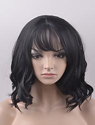 cheap -european and american fashion pear head short black hair high temperature wire wig