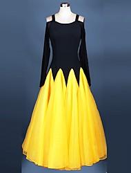 cheap -Ballroom Dance Dresses Performance Spandex / Organza Draping / Lace Long Sleeve High Dress