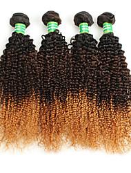 cheap -4 Bundles Brazilian Hair Curly Afro Virgin Human Hair Ombre Hair Weaves / Hair Bulk Ombre Human Hair Weaves Human Hair Extensions / 10A