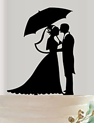 cheap -Acrylic couples the bride and groom wedding cake inserted fine decoration birthday cake inserted card
