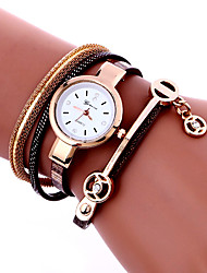 cheap -Women's Bracelet Watch Wrist Watch Wrap Bracelet Watch Quartz Ladies Cool Analog White Black Red / Quilted PU Leather