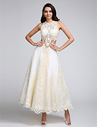 cheap -A-Line Wedding Dresses Jewel Neck Ankle Length Lace Over Satin Regular Straps Casual Boho Sexy Sparkle & Shine See-Through Backless with Lace Appliques 2020