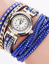 cheap -Women's Bracelet Watch Wrist Watch Quartz Quilted PU Leather Black / White / Blue Cool Analog Ladies Charm Sparkle Vintage Candy color - Blue Pink Light Blue