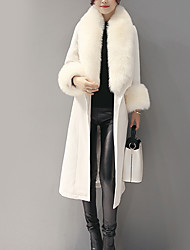 cheap -Women's Daily Vintage Winter Maxi Coat, Solid Colored Long Sleeve Fur Trim White / Navy Blue