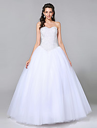 cheap -Ball Gown Sweetheart Neckline Floor Length Tulle Strapless Sparkle & Shine Made-To-Measure Wedding Dresses with Beading 2020