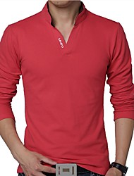 cheap -Men's Daily Plus Size T-shirt Solid Colored Long Sleeve Tops Cotton Active Stand Collar White Black Red / Spring / Fall