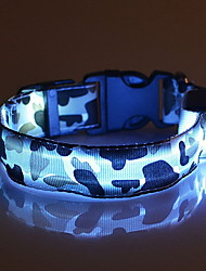 cheap -Cat Dog Collar LED Lights Adjustable / Retractable Camo / Camouflage Nylon Green Blue Pink