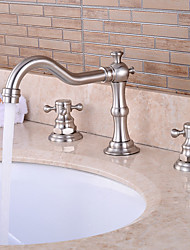 cheap -Bathtub Faucet - Pre Rinse / Waterfall / Widespread Nickel Brushed Widespread Two Handles Three HolesBath Taps