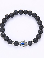 cheap -Onyx Natural Stone Black Lava Charm Bracelet Bead Bracelet Beaded Evil Eye Fashion Synthetic Gemstones Bracelet Jewelry Black Hamsa Hand For Party Gift