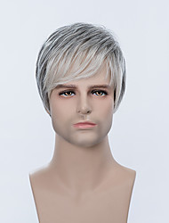 cheap -Human Hair Capless Wigs Human Hair Straight Short Hairstyles 2019 / With Bangs Side Part Ombre Short Wig Men's