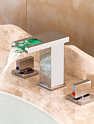cheap -Bathroom Sink Faucet - Waterfall / LED Chrome Widespread Two Handles Three HolesBath Taps