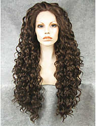 cheap -Synthetic Lace Front Wig Curly Curly Lace Front Wig Long Brown Synthetic Hair Women's Natural Hairline Brown