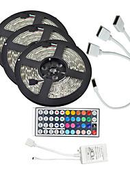 cheap -15M(3*5M) 3528 RGB 900 LEDs 8mm Strip Flexible Light LED Tape String Lights waterproof AC 12V 600LEDs with 44Key IR Remote Controller Kit