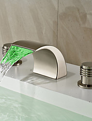 cheap -Contemporary / Art Deco/Retro / Modern Widespread LED / Waterfall / Widespread with  Ceramic Valve Two Handles Three Holes for  Nickel