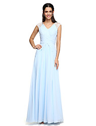 cheap -A-Line V Neck Floor Length Chiffon Bridesmaid Dress with Draping / Criss Cross / Ruched