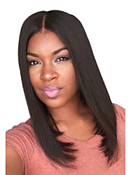 cheap -Synthetic Wig Straight Straight Bob With Bangs Wig Medium Length Brown Synthetic Hair Women's Middle Part Brown