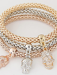 cheap -Women's Charm Bracelet Layered Stack Stacking Stackable Skull Ladies Luxury European Simple Style Fashion Rhinestone Bracelet Jewelry Rainbow For Gift Daily / Imitation Diamond